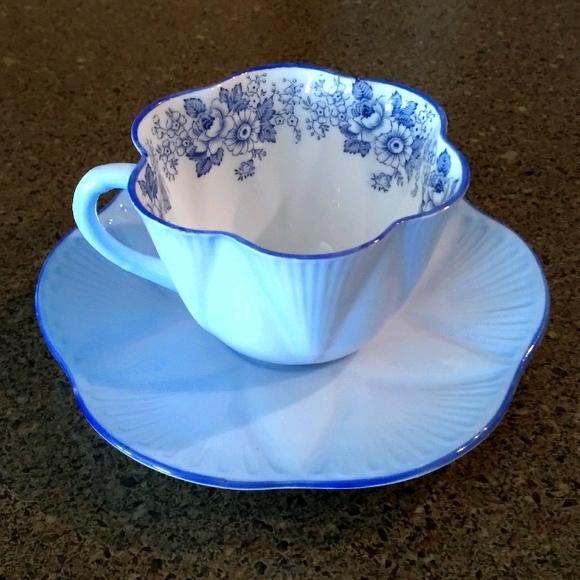 Shelley 40's Rare Blue Bone China Teacup & Saucer